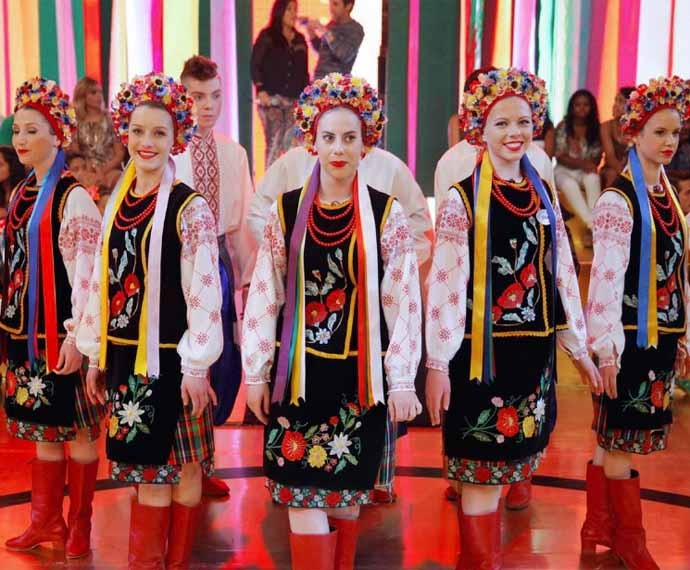 Grupo de dança ucraniana Vesselka agitou o Esquenta (Foto:  Reprodução/Redes Sociais)