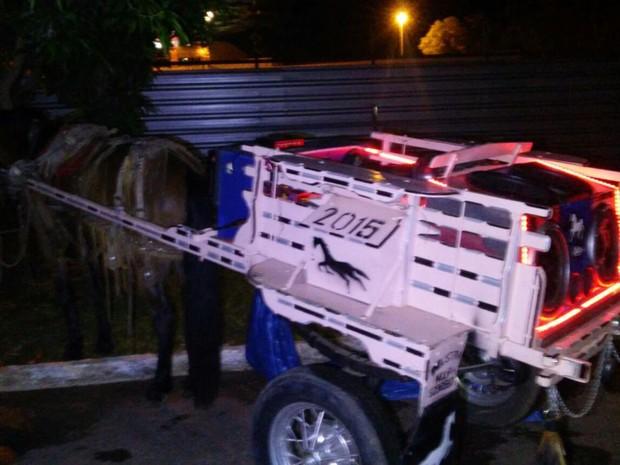 Carroça com som automotivo é apreendida em Itapoã, no DF (Foto: Polícia Militar/Divulgação)
