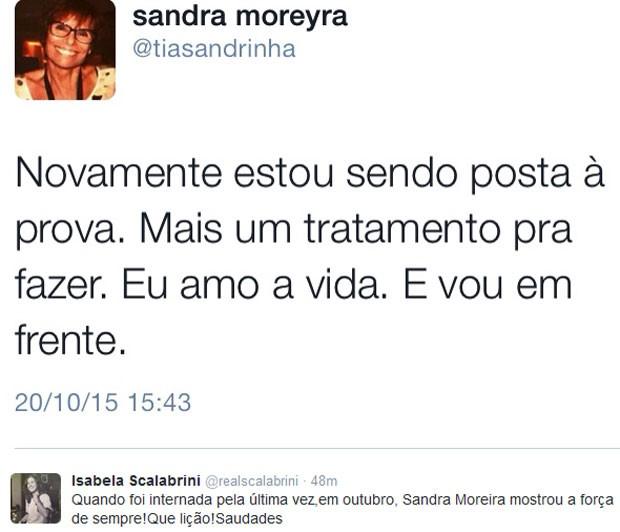 A jornalista Isabela Scalabrini deixou uma mensagem pela morte de Sandra (Foto: Reprodução)