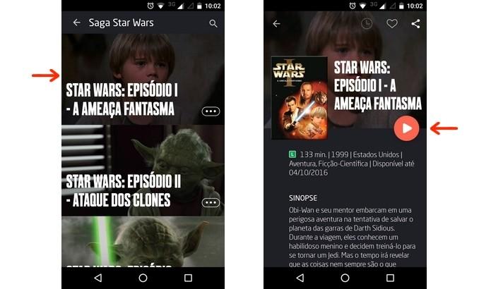 Abertura do filme através do app Telecine Play (Foto: Reprodução/Raquel Freire)
