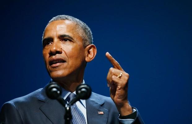 O presidente norte-americano Barack Obama discursa durante a Conferência de Energia Limpa 8.0 no Centro de Convenções Mandalay Beay, em Las Vegas (Foto: Ethan Miller/Getty Images)