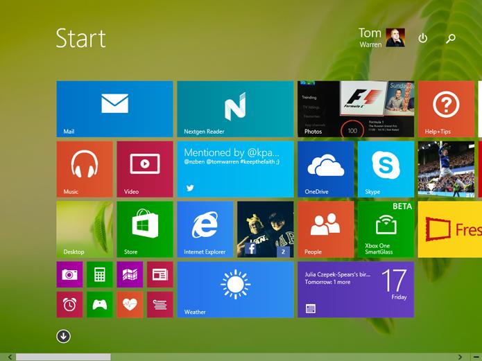 Tela inicial é limitada a aplicativos e favoritos do Internet Explorer (foto: Reprodução/The Verge)