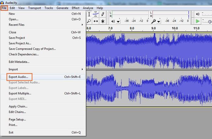 Exporte o áudio pelo Audacity (Foto: Reprodução/Barbara Mannara)