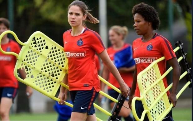 Erika e Formiga no treino do PSG