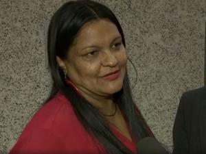 Deputada distrital Telma Rufino (PPL), em entrevista à TV Globo na Câmara Legislativa (Foto: TV Globo/Reprodução)