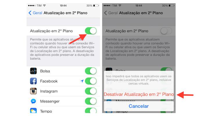 Desativando as atualizações em segundo plano no iOS 7 do iPhone 4 (Foto: Reprodução/Marvin Costa)