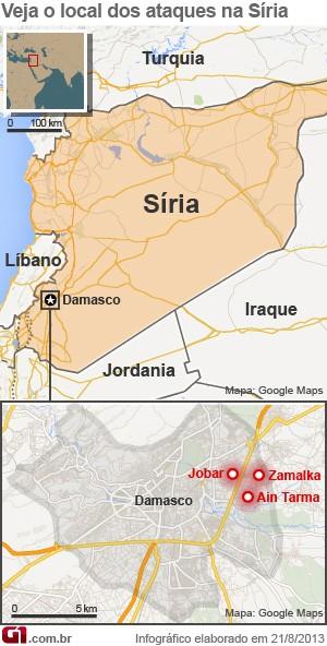 mapa ataque químico síria 21/8 (Foto: 1)