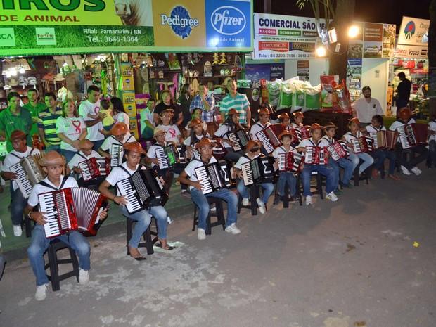#Festa do Boi - Orquestra sanfônica do Museu do Vaqueiro, no RN (Foto: Jocaff Souza/G1)