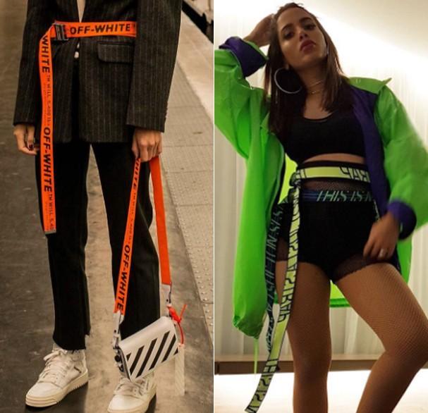 Anitta usando o cinto da marca brasileira e, ao lado, o cinto da marca Off White (Foto: Reprodução/Instagram)