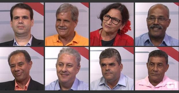 Candidatos de Duque de Caxias entrevistados pelo G1 (Foto: Editoria de Arte/G1)