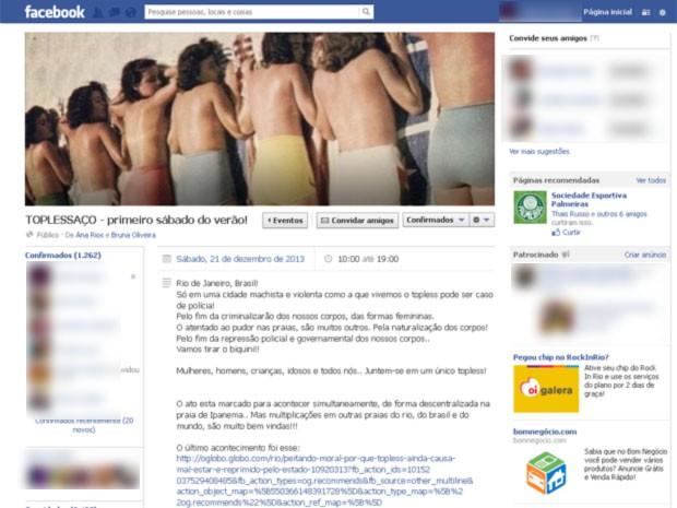 'Toplessaço' está marcado para o dia 21 de dezembro (Foto: Reprodução/ Facebook)