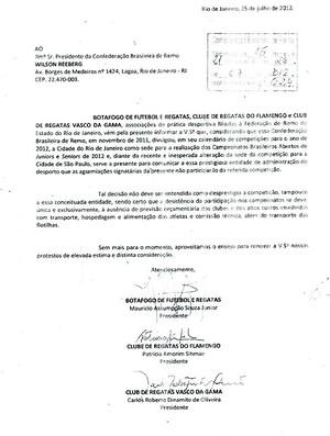 Comunicado de não participação dos clubes do Rio no Brasileiro de Remo  (Foto: Divulgação)