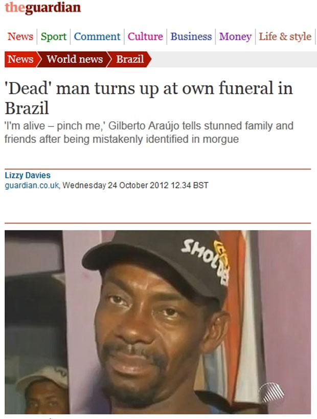 Reportagem do diário britânico 'Guardian' sobre brasileiro dado como morto por engano (Foto: Reprodução)