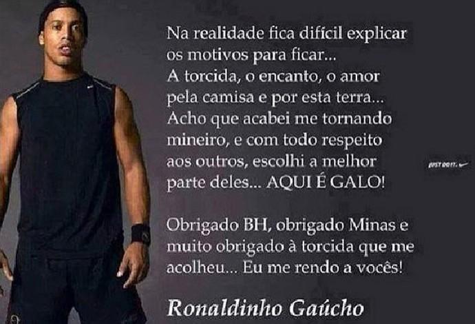 reprodução post ronaldinho gaúcho (Foto: Reprodução / Instagram)