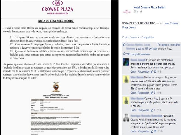Na primeira nota divulgada sobre o caso, Crowne Plaza declarou que trata seus clientes 'sem distinção', e classificou de 'hostil'; e 'leviana' a postagem da denúncia e seu compartilhamento por milhares de internautas  (Foto: Reprodução/Facebook)