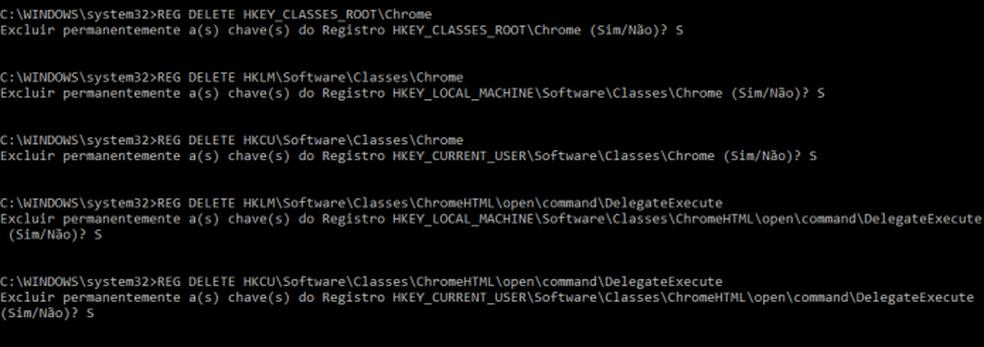 Apagando chaves do registro relacionadas ao Chrome (Foto: Edivaldo Brito/TechTudo)