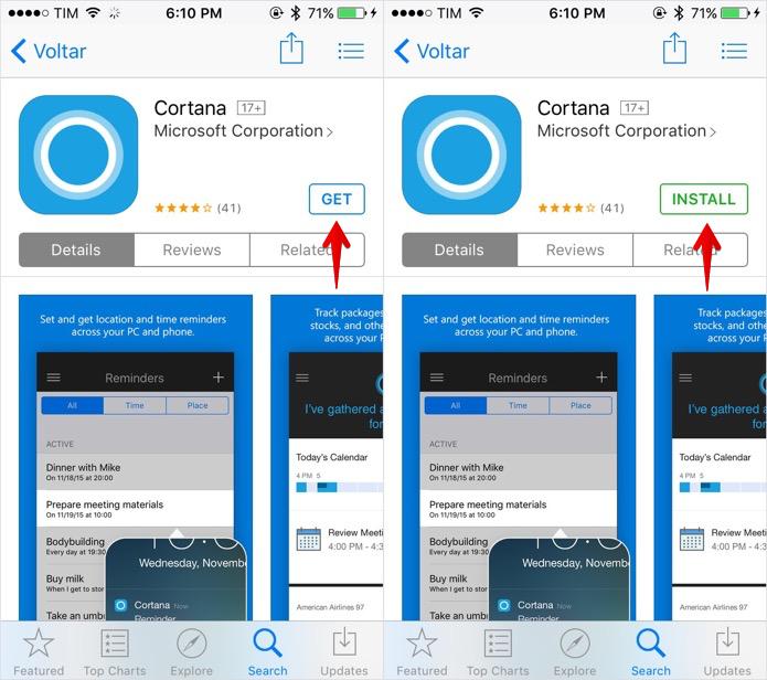 Instalando o app da Cortana no iPhone (Foto: Reprodução/Helito Bijora)