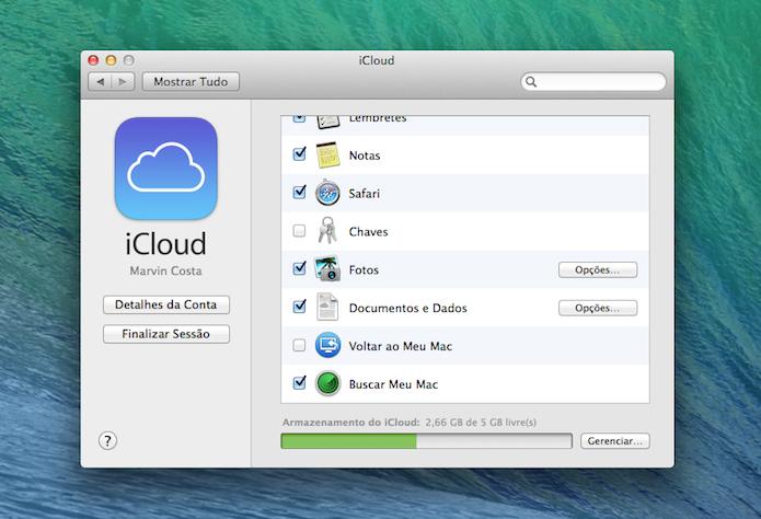 Função Find My Mac ativada nas opções do iCloud (Foto: Reprodução/Marvin Costa)
