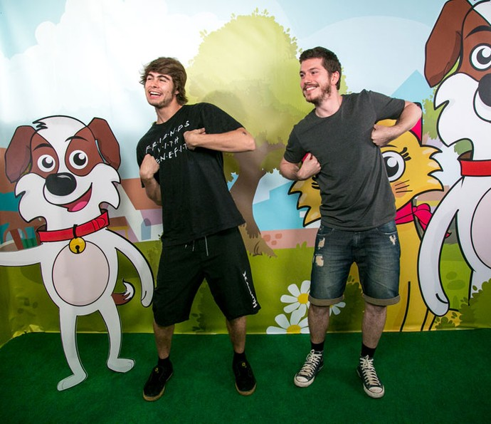 Rafael Vitti e Caio Paduan também conheceram o 'Tito Cachorrinho e Sua Turma'! (Foto: Isabella Pinheiro/Gshow)