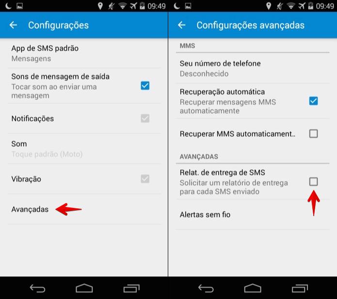Ativando relatório de entrega no Google Messenger (Foto: Reprodução/Helito Bijora)
