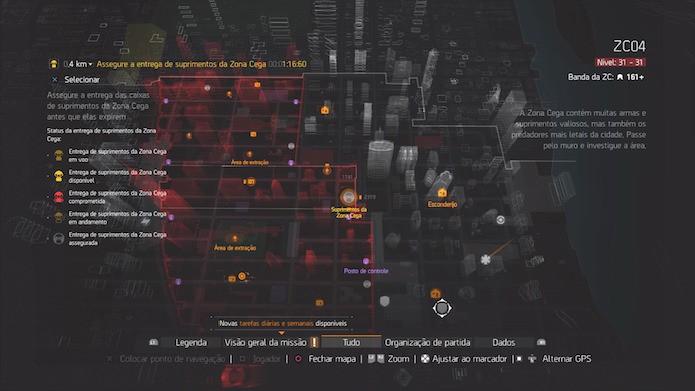 The Division: as Entregas de Suprimentos são sinalizadas no mapa periodicamente (Foto: Reprodução/Victor Teixeira)