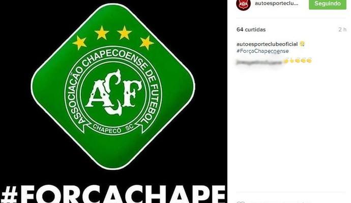 Auto Esporte lamenta queda de avião do Chapecoense (Foto: Reprodução / Instagram)