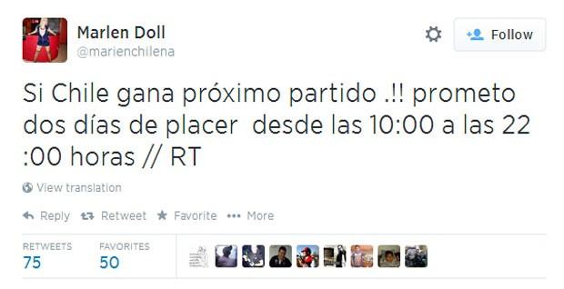 Marlen Doll aumentou proposta de maratona de sexo e prometeu 'dois dias de prazer' caso a seleção chilena vença o Brasil no próximo jogo (Foto: Reprodução/Twitter/marienchilena)