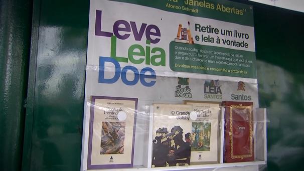 Projeto incentiva a leitura na cidade de Santos (Foto: Reprodução/TV Tribuna)
