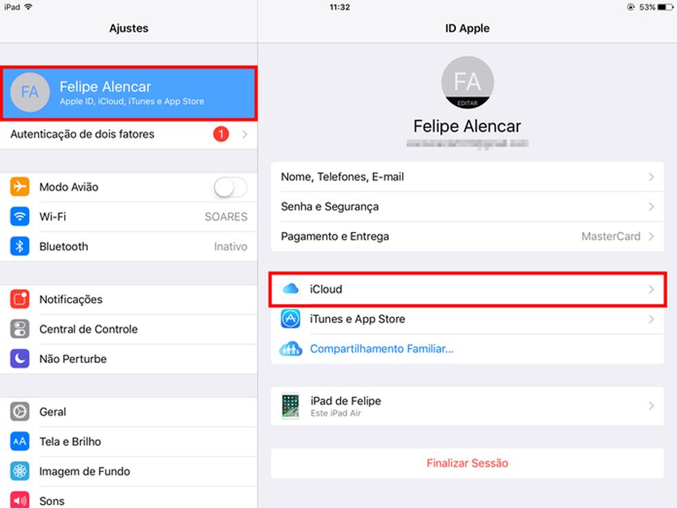 Acessando as opções do iCloud pelo iPhone ou iPad (Foto: Reprodução/Felipe Alencar)