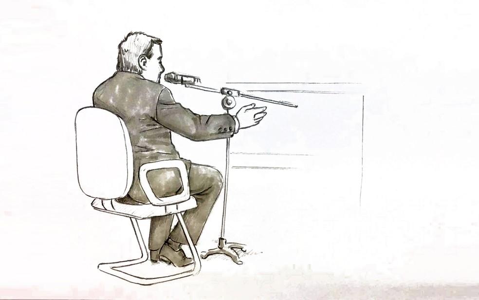 Ilustração mostra o depoimento do delegado Mauro Dias durante o julgamento de Elize Matsunaga. (Foto: Roberta Jaworski/Editoria de Arte/G1)