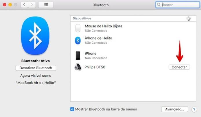 Conectando a caixa de som Bluetooth (Foto: Reprodução/Helito Bijora)