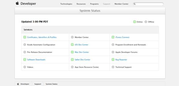 Página de status do site da Apple para desenvolvedores mostra serviços voltando ao ar a partir das 19h desta sexta-feira (26). (Foto: Reprodução/Apple.com)