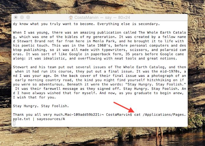 Colando o código no Terminal para ouvir o discurso de Steve Jobs escondido no Mac OS X (Foto: Reprodução/Marvin Costa)