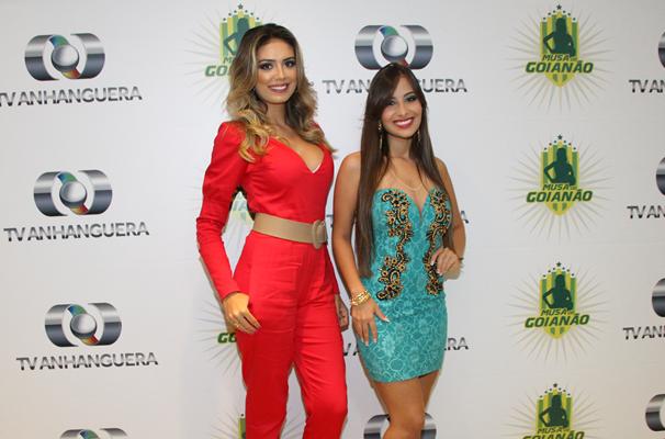 Hélika Rios e Michelle Asevedo marcaram presença na gravação do programa.  (Foto: TV Anhanguera)