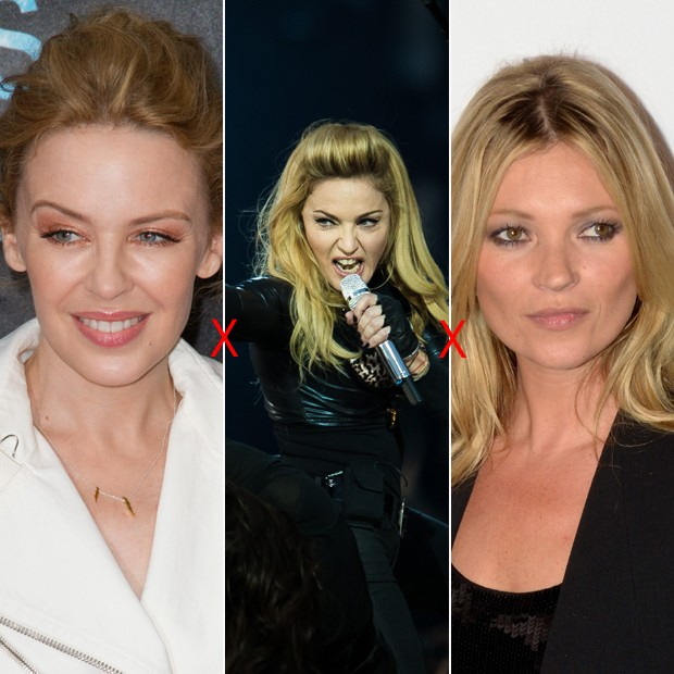 (esq. à dir.) Kylie Minogue; Madonna; Kate Moss (Foto: Getty Images)
