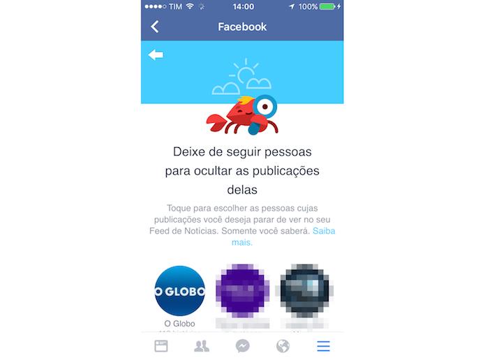 Ferramenta para deixar de seguir contatos do Facebook para iPhone (Foto: Reprodução/Marvin Costa)
