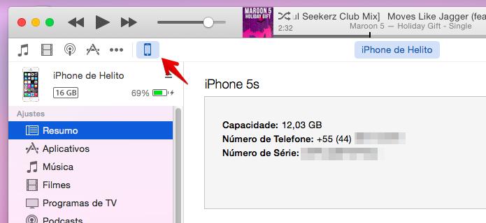 Conecte o iGadget ao computador e acesse as configurações no iTunes (Foto: Reprodução/Helito Bijora)