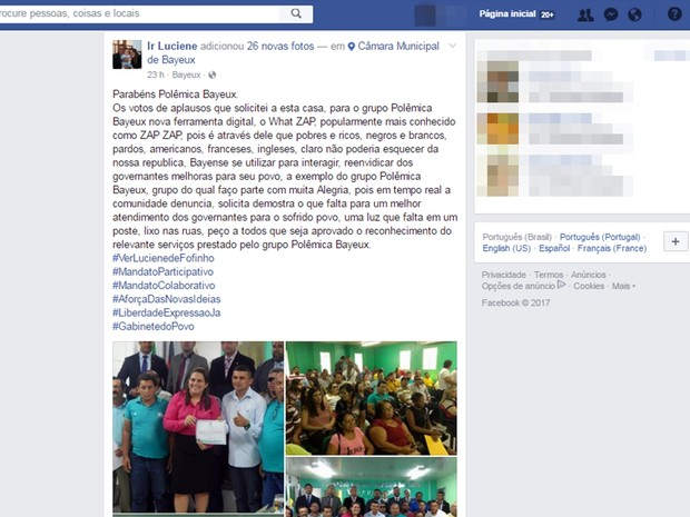 Vereadora homenageou grupo também em uma rede social  (Foto: Reprodução/Facebook)