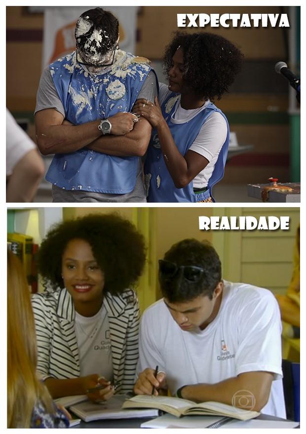 Torta na cara nunca mais, Fera! (Foto: Malhação / TV Globo)