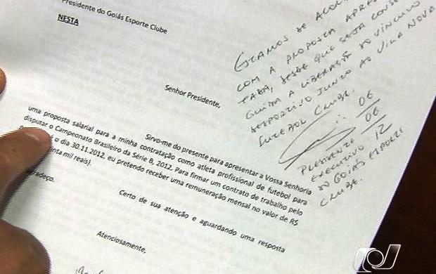Carta em que Patric se oferece para jogar no Goiás (Foto: Reprodução/TV Anhanguera)