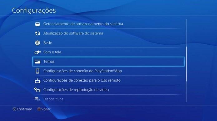 Temas são acessíveis neste menu (Foto: Reprodução Thiago Barros)