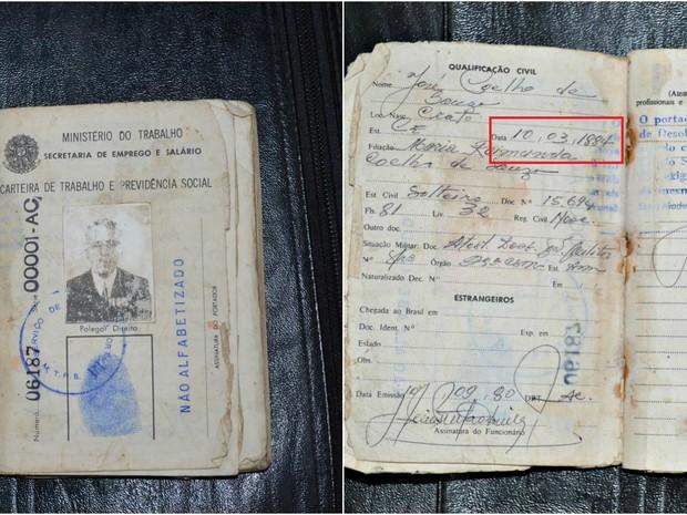 Carterira de trabalho de Souza também registra o ano de nascimento em 1884 (Foto: Alexandre Santana/Arquivo pessoal)