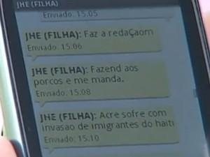 Estudante trocou mensagens com a mãe durante o Enem (Foto: Reprodução/TV TEM)