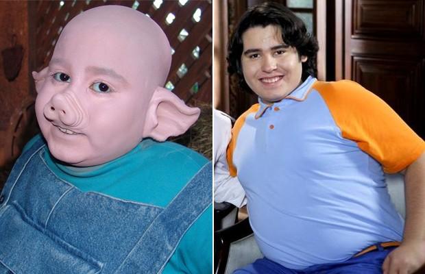 Sucessos na TV: O porquinho Zé Maria em 'Sítio do Picapau Amarelo' e o órfão Rafa de 'Chiquititas' (Foto: Divulgação)