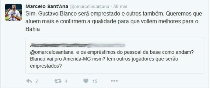 Marcelo Sant'Ana fala do empréstimo de Gustavo Blanco  (Foto: Reprodução / Twitter)
