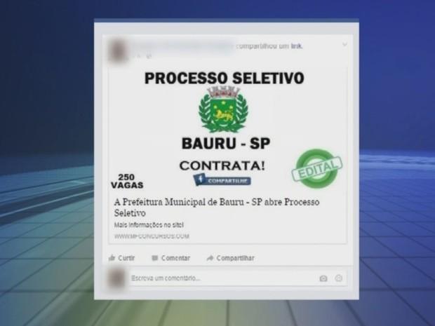 Anúncio falso de emprego foi divulgado nas redes sociais (Foto  Reprodução    TV TEM 1713f22d7bfb5