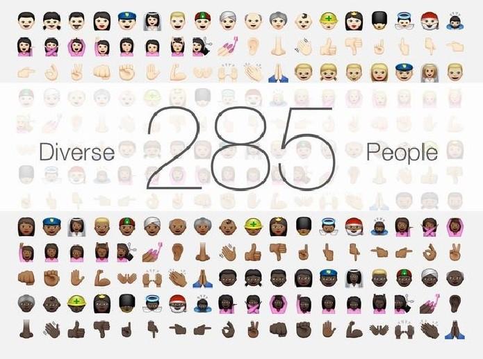 Nova atualização trouxe cinco opções de tons de pele (Foto: Reprodução/Emojipedia)