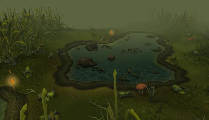 Pântano em Runescape, onde há diversos animais para caçar (Foto: Divulgação)