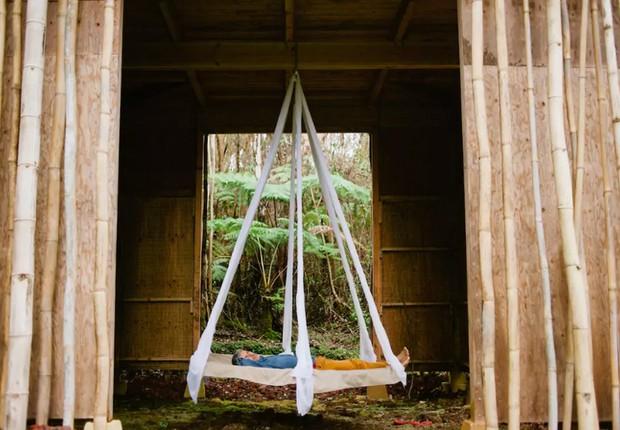 Cama suspensa em casa na árvore em Fern Forest, nos Estados Unidos (Foto: Reprodução/Airbnb)