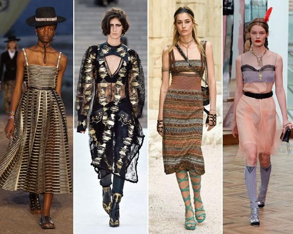 A lingerie volta a ser o centro das atenções. Aqui, na passarela da Dior, Louis Vuitton, Chanel e Prada, respectivamente (Foto: divulgação)